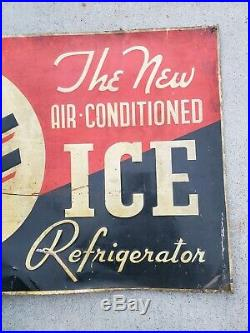 1930's Antique See The Air-Conditioned Ice Refrigerator Tin Sign Rare 29X20