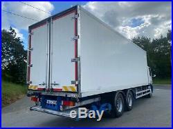 2008 daf cf 75 310 euro5 6x2 26ton 28ft fridge freezer with barn door and lift
