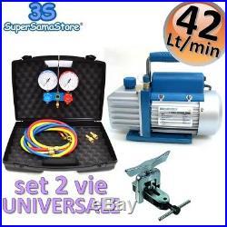 3S AIRCON REFRIGERATION KIT Vacuum PUMP + MANIFOLD SET R32 R410A + FLARING TOOL