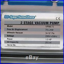 3S VACUUM PUMP GAUGE SOLENOID VALVE REFRIGERATION 2.5 CFM 2 STAGE 70 Lt/min NEW