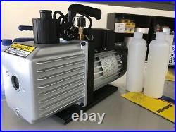 7 CFM 2 Stages Refrigerant Vacuum Pump Refrigeration Gauges Tools Air Condition