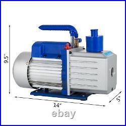 9 CFM 1 HP Rotary 2 Stage Vacuum Pump Refrigerant Gauges Tools Air Condition