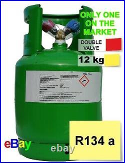 R134a Refrigerant Gas 12kg Virgin Refillable Cylinders DOUBLE VALVE 1/4